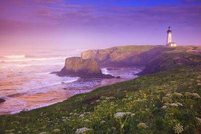 Sunrise Thru Fog, Yaquina Head Lighthouse, Oregon Coast. Pacific Northwest, United States-Craig Tuttle-Photographic Print
