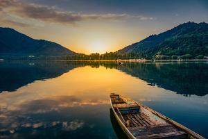 Sunrise View of a Dal Lake Srinagar Jammu an Kashmir, India,