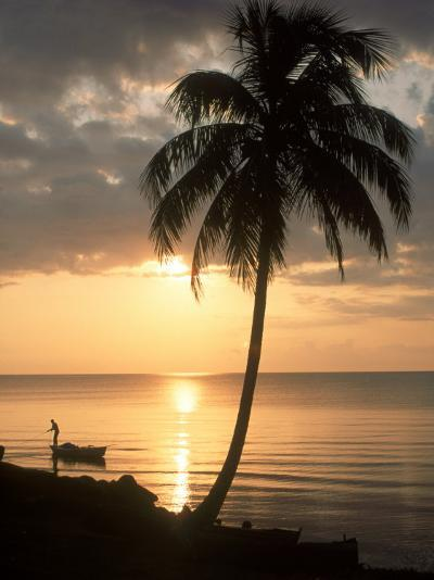 Sunrise with Man in Boat and Palm Tree, Belize-Frank Staub-Photographic Print