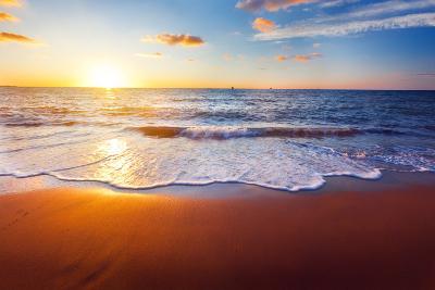 Sunset And Beach-Hydromet-Photographic Print