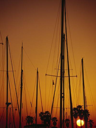 Sunset and Boat Masts, Ventura Harbor, CA-Jeff Greenberg-Photographic Print