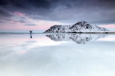 Sunset and Hiker on Skagsanden Beach Surrounded by Snow Covered Mountains-Roberto Moiola-Photographic Print