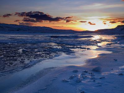 Sunset and Ice Crystals in the Water, Holtavorduheidi, Iceland-Ragnar Th Sigurdsson-Photographic Print