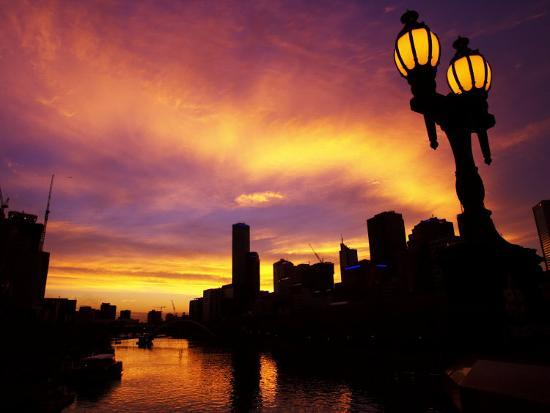 Sunset and Lamp, Rialto Towers and Yarra River, Melbourne, Victoria, Australia-David Wall-Photographic Print