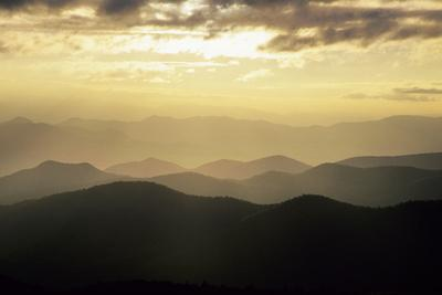 Sunset and Mountains Along Blue Ridge Parkway, North Carolina-Richard and Susan Day-Photographic Print