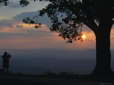Sunset and Silhouetted Oak and Person over the Shenandoah Valley, Dickeys Ridge Visitors Center-Raymond Gehman-Photographic Print