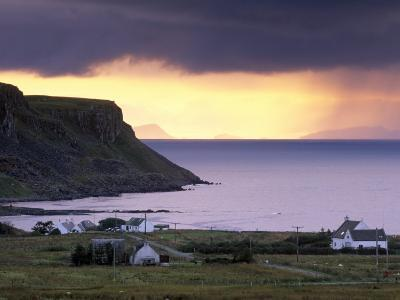 Sunset and Stormy Weather Near Bornesketaig, Trotternish, Isle of Skye, Inner Hebrides, Scotland-Patrick Dieudonne-Photographic Print