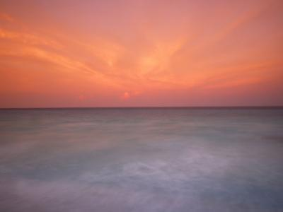 Sunset and Surf at Cancun Beach-Raul Touzon-Photographic Print