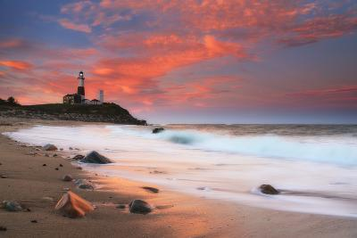 Sunset and Surf Surging onto the Beach at the Montauk Point Lighthouse-Robbie George-Photographic Print