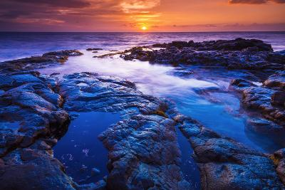 Sunset and Tide Pool Above the Pacific, Kailua-Kona, Hawaii-Russ Bishop-Photographic Print