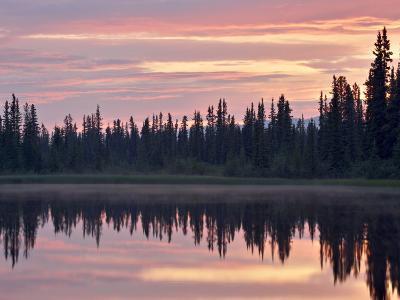 Sunset at an Unnamed Lake Near Salmo Lake, Alaska Highway, Yukon Territory, Canada, North America-James Hager-Photographic Print
