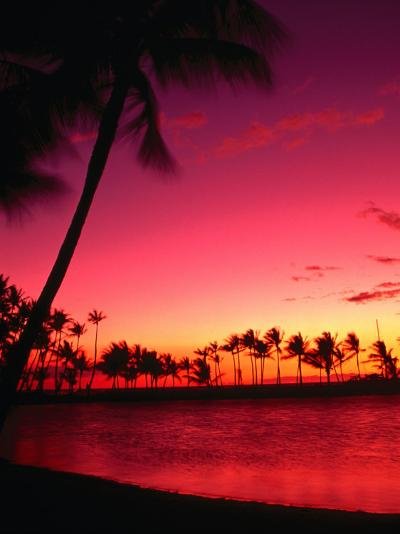 Sunset at Anaehoomalu Beach, Waikoloa, Hawaii, USA-Ann Cecil-Photographic Print