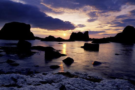 Sunset at Ballintoy on the North Coast of Antrim-Chris Hill-Photographic Print