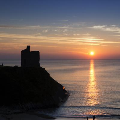 Sunset at Ballybunnion Castle, County Kerry, Ireland-Chris Hill-Photographic Print