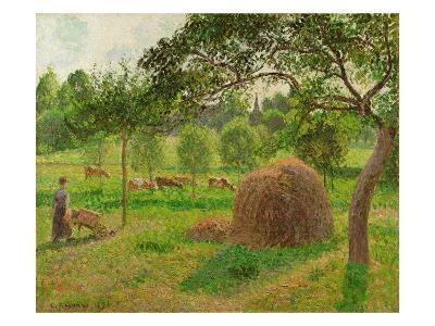 Sunset at Eragny, 1896-Camille Pissarro-Giclee Print