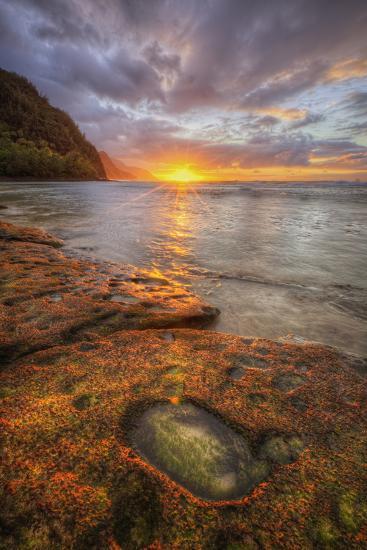 Sunset at Ke'e Beach, Na Pali Coast, Kauai Hawaii-Vincent James-Photographic Print