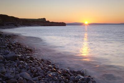 Sunset at Kilve Beach, Somerset.-Nick Cable-Photographic Print