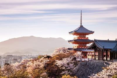 Sunset at Kiyomizu-Dera Temple and Cherry Blossom Season (Sakura) on Spring Time in Kyoto, Japan- thipjang-Photographic Print