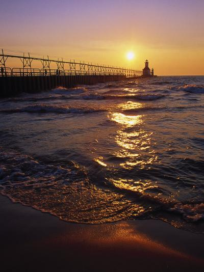 Sunset at Lighthouse, Lake MIchigan, MI-Mark Gibson-Photographic Print