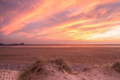 Sunset at Llangennith Beach,Rhossili Bay,Gower,Wales-Paul Quayle-Photographic Print