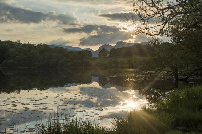 Sunset at Loughrigg Tarn Near Ambleside in the Lake District-Alex Treadway-Photographic Print