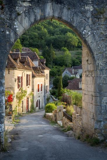 Sunset at Old Entry Gate to Saint-Cirq-Lapopie, Lot Valley, France-Brian Jannsen-Photographic Print