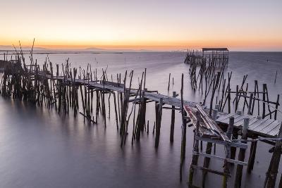 Sunset at Palafito Pier of Carrasqueira, Natural Reserve of Sado River, Alcacer Do Sal-Roberto Moiola-Photographic Print