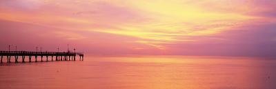 Sunset at Pier, Water, Caspersen Beach, Venice, Florida, USA--Photographic Print