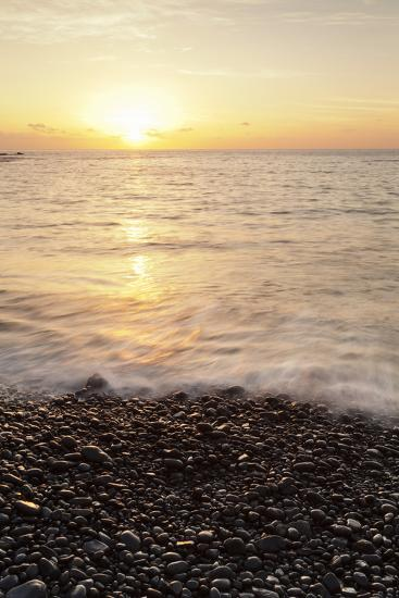 Sunset at Playa De Alojera Beach, Alojera, West Coast, La Gomera, Canary Islands, Spain, Atlantic-Markus Lange-Photographic Print