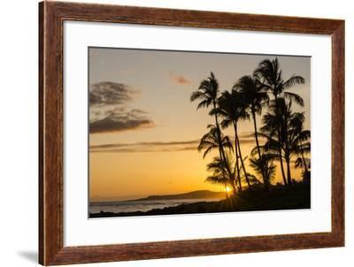 Sunset at Poipu Beach, Kauai, Hawaii, United States of America, Pacific-Michael DeFreitas-Framed Photographic Print