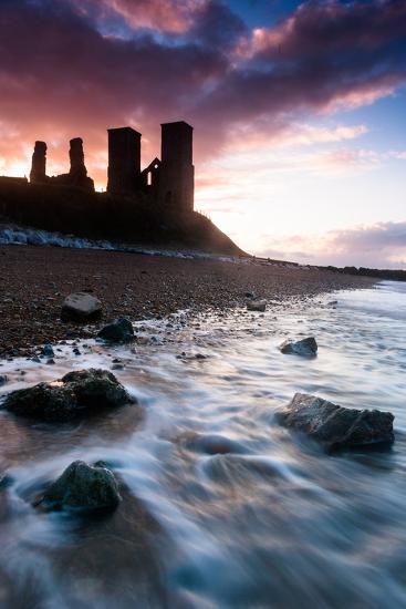 Sunset at Reculver Tower, Kent, England, United Kingdom, Europe-Bill Ward-Photographic Print