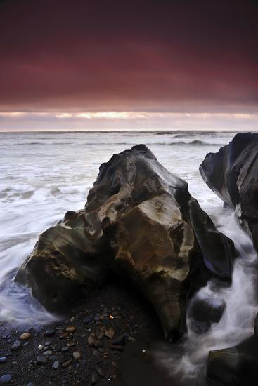 Sunset at Ruby Beach with Sea-Carved Rock, Olympic National Park, Washington-Keith Ladzinski-Photographic Print