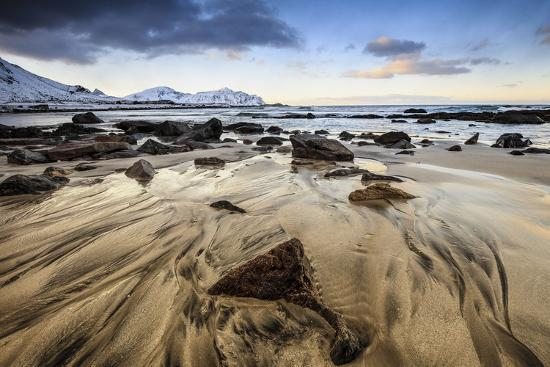 Sunset at Skagsanden Beach, Lofoten, Norway-ClickAlps-Photographic Print