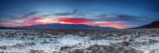Sunset at the Badwater Basin.-liseykina-Photographic Print