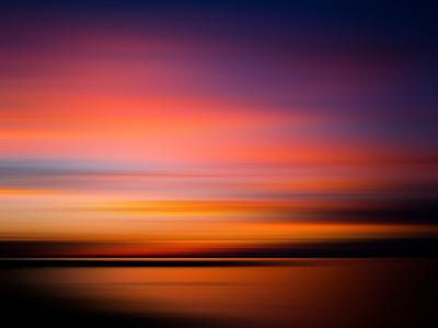 Sunset at the Beach. Blurred Panning Motion. Abstract- mervas-Photographic Print