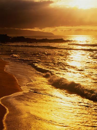 Sunset at the Beach on the North Shore, Pupukea Beach Park, Oahu, Hawaii, USA-Ann Cecil-Photographic Print
