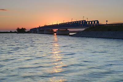 Sunset at the Peenestrom, Balance Bridge to the Island Usedom, Mecklenburg-West Pomerania, Germany-Andreas Vitting-Photographic Print