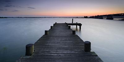 Sunset at the Peenestrom, Bridge, Mecklenburg-West Pomerania-Andreas Vitting-Photographic Print