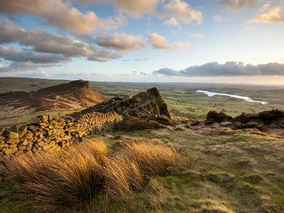 Sunset at the Roaches Including Tittesworth Reservoir, Staffordshire Moorlands, Peak District Natio-Chris Hepburn-Photographic Print