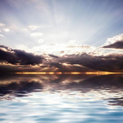 Sunset at the Sea. Beautiful Nature: Water and Sky-Oksana Kovach-Photographic Print
