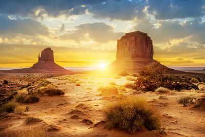 Sunset at the Sisters in Monument Valley, USA- ventdusud-Photographic Print