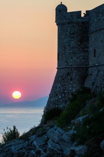 Sunset at the Walls of Old Town, Dubrovnik, UNESCO World Heritage Site, Croatia, Europe-Karen Deakin-Photographic Print