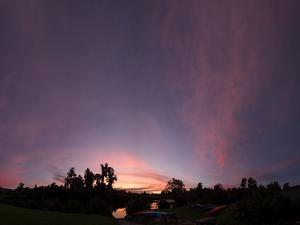 Sunset at Wilderness Lodge on Lake Moeraki, West Coast, South Island, New Zealand