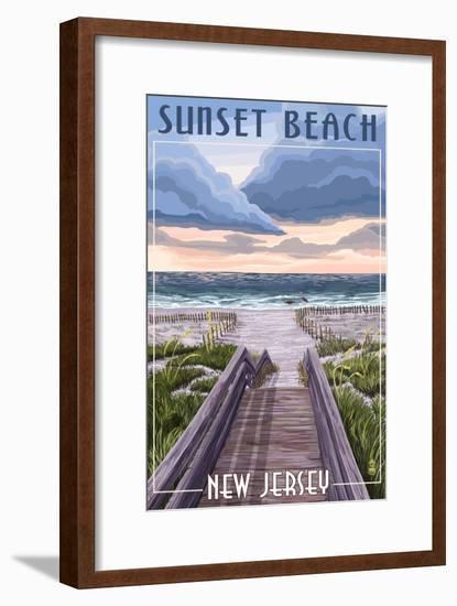 Sunset Beach, New Jersey - Beach Boardwalk Scene-Lantern Press-Framed Art Print