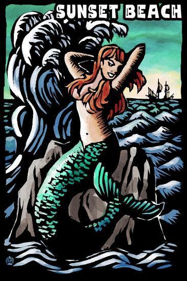 Sunset Beach, New Jersey - Mermaid Scratchboard-Lantern Press-Art Print