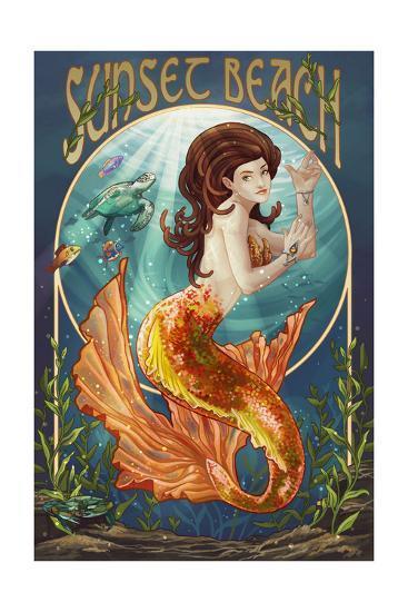 Sunset Beach, New Jersey - Mermaid-Lantern Press-Art Print