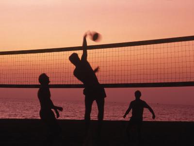 Sunset Beach Volleyball-Mitch Diamond-Photographic Print