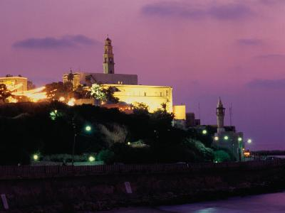 Sunset Behind Coastal Town of Jaffa, Tel Aviv, Israel-Eddie Gerald-Photographic Print