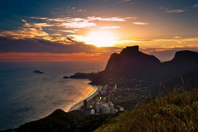Sunset behind Mountains in Rio De Janeiro-dabldy-Photographic Print