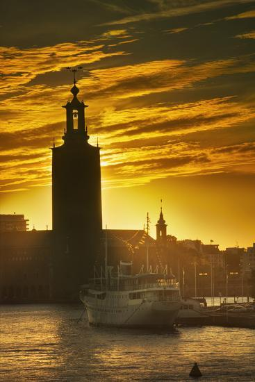 Sunset behind Stadshuset Bell Tower in Stockholm-Jon Hicks-Photographic Print